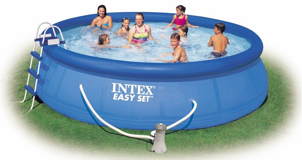 Swimming pool aufblasbar intex for Zwembad tuin intex