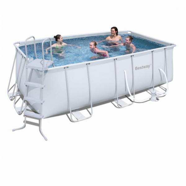 Bestway power steel frame pool rechteckig bestway for Billige poolfolien