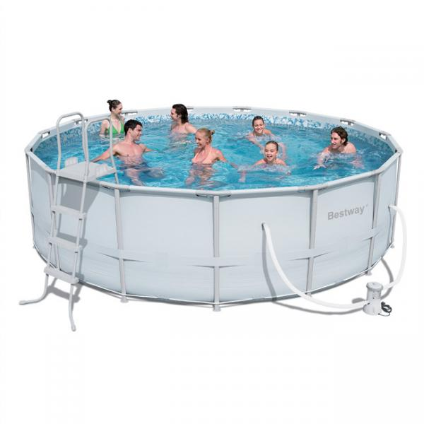bestway power steel frame pool rund bestway. Black Bedroom Furniture Sets. Home Design Ideas
