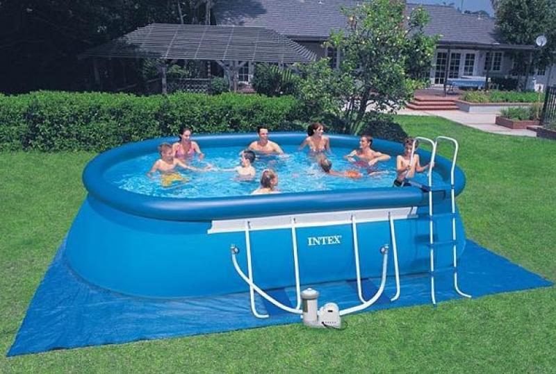 Intex swimming pool oval frame intex for Billige poolfolien